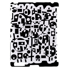 Black and white abstract chaos Apple iPad 2 Hardshell Case (Compatible with Smart Cover)
