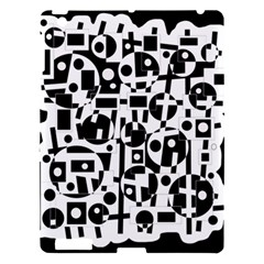 Black and white abstract chaos Apple iPad 3/4 Hardshell Case