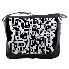 Black and white abstract chaos Messenger Bags