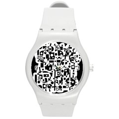 Black and white abstract chaos Round Plastic Sport Watch (M)