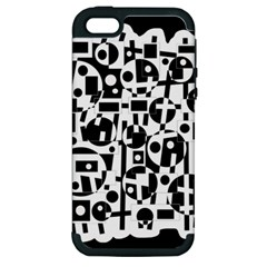 Black and white abstract chaos Apple iPhone 5 Hardshell Case (PC+Silicone)