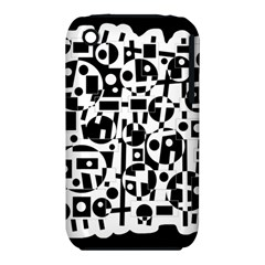 Black and white abstract chaos Apple iPhone 3G/3GS Hardshell Case (PC+Silicone)