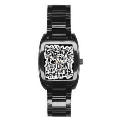 Black and white abstract chaos Stainless Steel Barrel Watch