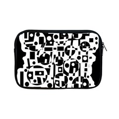 Black and white abstract chaos Apple iPad Mini Zipper Cases