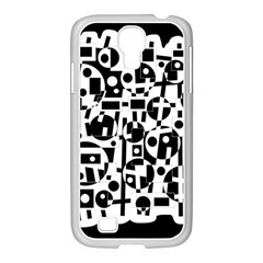 Black and white abstract chaos Samsung GALAXY S4 I9500/ I9505 Case (White)