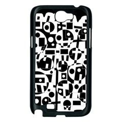Black and white abstract chaos Samsung Galaxy Note 2 Case (Black)