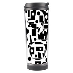 Black and white abstract chaos Travel Tumbler