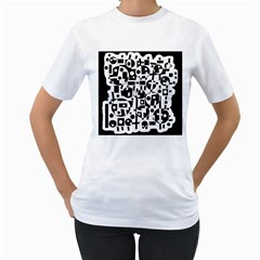 Black and white abstract chaos Women s T-Shirt (White)