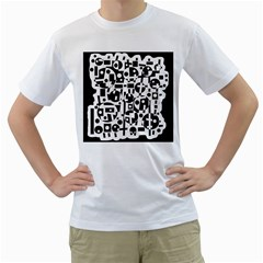 Black and white abstract chaos Men s T-Shirt (White)