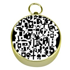 Black and white abstract chaos Gold Compasses