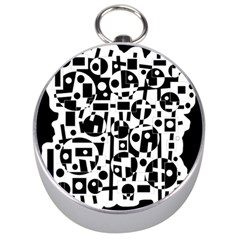 Black and white abstract chaos Silver Compasses