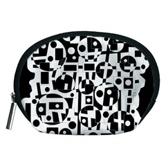 Black and white abstract chaos Accessory Pouches (Medium)