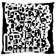 Black and white abstract chaos Large Flano Cushion Case (One Side)
