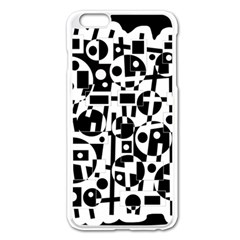 Black and white abstract chaos Apple iPhone 6 Plus/6S Plus Enamel White Case