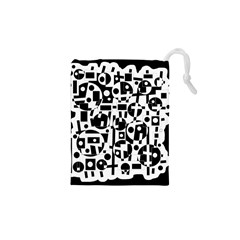 Black and white abstract chaos Drawstring Pouches (XS)