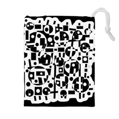 Black and white abstract chaos Drawstring Pouches (Extra Large)