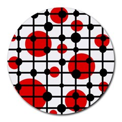 Red circles Round Mousepads