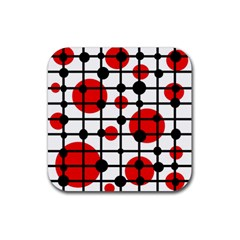 Red circles Rubber Square Coaster (4 pack)