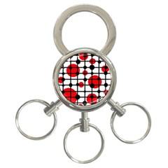 Red circles 3-Ring Key Chains