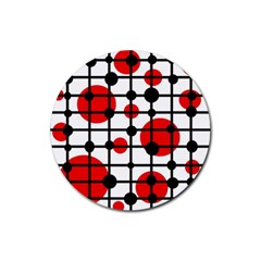 Red circles Rubber Coaster (Round)