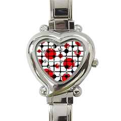 Red circles Heart Italian Charm Watch