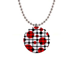 Red circles Button Necklaces