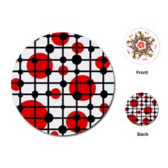 Red circles Playing Cards (Round)