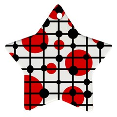 Red circles Star Ornament (Two Sides)