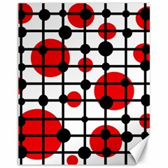 Red circles Canvas 11  x 14