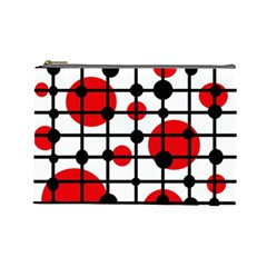 Red circles Cosmetic Bag (Large)