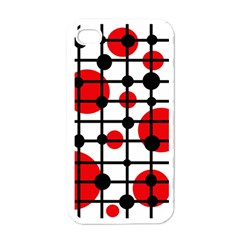 Red circles Apple iPhone 4 Case (White)