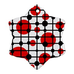 Red circles Snowflake Ornament (2-Side)