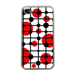 Red circles Apple iPhone 4 Case (Clear)