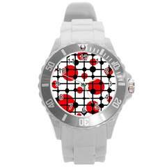 Red circles Round Plastic Sport Watch (L)
