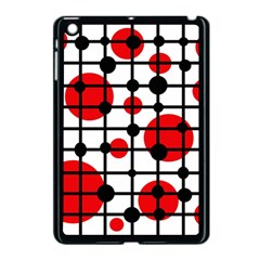 Red circles Apple iPad Mini Case (Black)