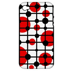 Red circles Apple iPhone 4/4S Hardshell Case (PC+Silicone)