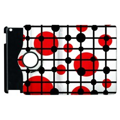 Red circles Apple iPad 3/4 Flip 360 Case