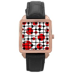 Red circles Rose Gold Leather Watch