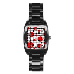 Red circles Stainless Steel Barrel Watch