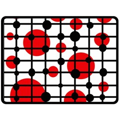 Red circles Double Sided Fleece Blanket (Large)