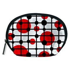 Red circles Accessory Pouches (Medium)