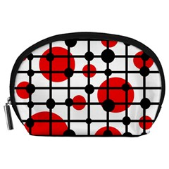 Red circles Accessory Pouches (Large)