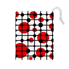 Red circles Drawstring Pouches (Large)
