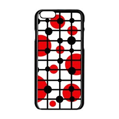 Red circles Apple iPhone 6/6S Black Enamel Case