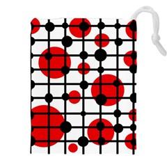 Red Circles Drawstring Pouches (xxl)