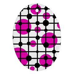 Magenta circles Ornament (Oval)