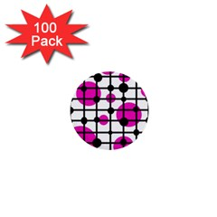 Magenta circles 1  Mini Buttons (100 pack)