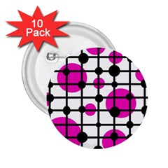 Magenta circles 2.25  Buttons (10 pack)