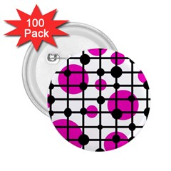 Magenta circles 2.25  Buttons (100 pack)