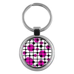 Magenta circles Key Chains (Round)